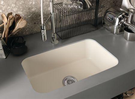 corian simplicity sink 881 in bone color combined with countertop in corian deep titanium - Kitchen Sink Titanium