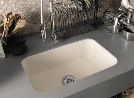 Corian Simplicity Sink 881 In Bone Color Combined With Countertop Deep Anium