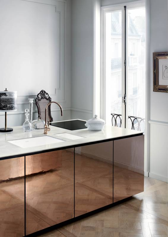 Corian® Bold Vaso Sink 966 In Glacier White With Countertop In Corian®  Arrowroot