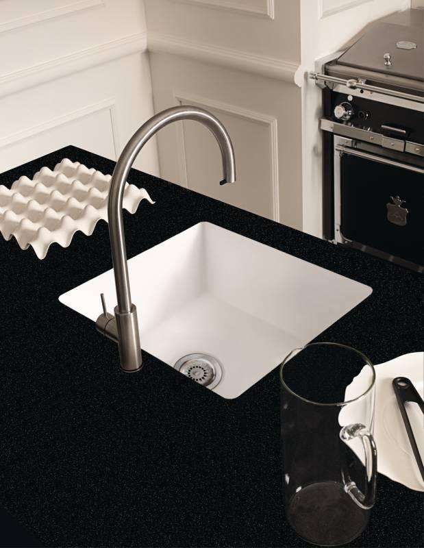 Corian® Neat Sink 859 In Glacier White With Countertop In Corian® Deep  Night Sky