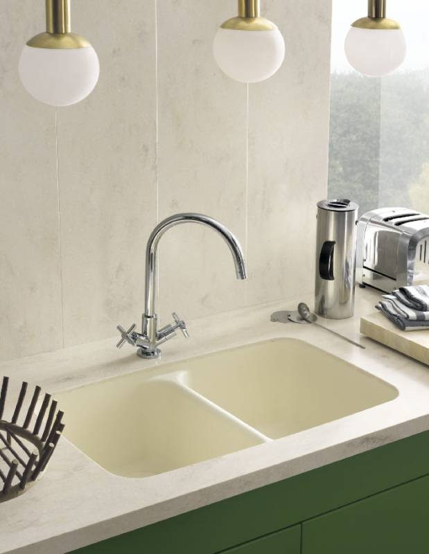Corian Smooth Sink 850 In Vanilla Paired With Backsplash And Countertop In Corian Clam Shell