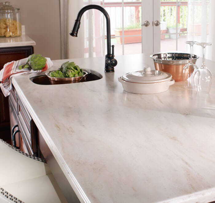 Corian 2 in. Solid Surface Countertop Sample in Platinum ...