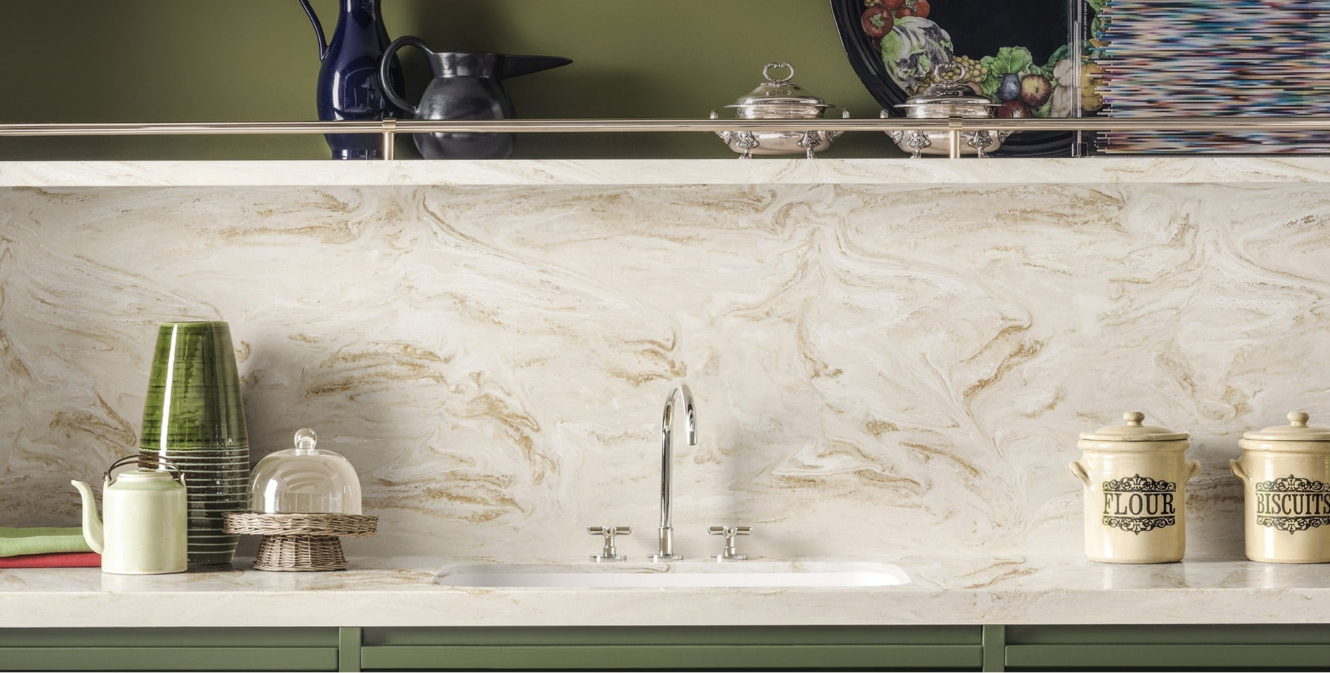 Kitchen Worksurface Backsplash And Shelf In Corian Dune Prima